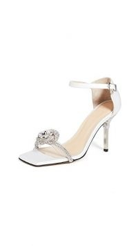 MACH & MACH Rosie Sandals / white satin ankle starp sandal / crystal embellished shoes / wedding heels / bridal footwear