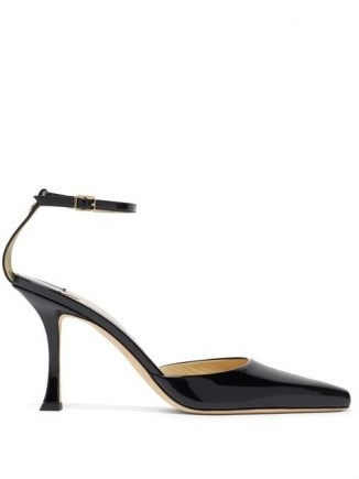 JIMMY CHOO Mair 90 point-toe patent-leather pumps ~ black high shine ankle strap shoes - flipped
