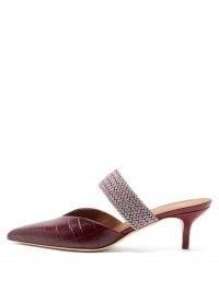MALONE SOULIERS Maisie crocodile-effect leather mules in burgundy – croc embossed kitten heel mule