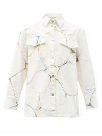 STELLA MCCARTNEY Marble-print denim jacket   casual white shirt style jackets