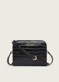 L.K. Bennett MARIE BLUE CROC-EFFECT LEATHER CROSSBODY BAG | small crocodile embossed bags