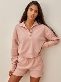 REFORMATION Marla Button Sweatshirt   polo style open neck sweatshirts