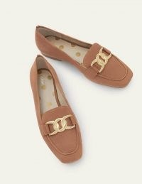 BODEN Martha Loafers / tan suede chain detail flats