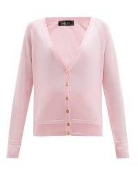 VERSACE Pink Medusa-button jersey cardigan / designer V-neck cardigans