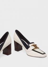 HOBBS MELINDA LEATHER COURT SHOES ~ square toe block-heel courts ~ monochrome leather