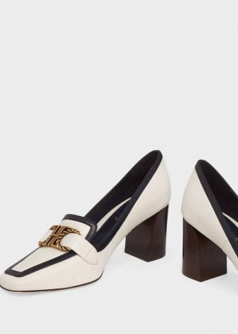 HOBBS MELINDA LEATHER COURT SHOES ~ square toe block-heel courts ~ monochrome leather - flipped