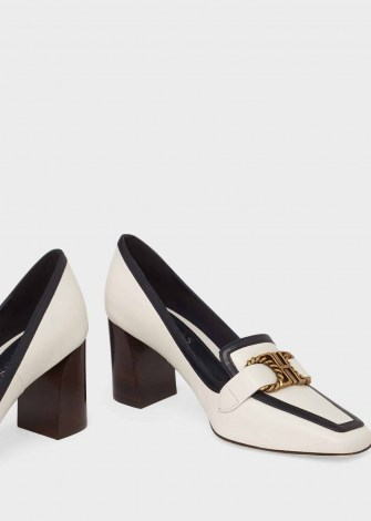 HOBBS MELINDA LEATHER COURT SHOES ~ square toe block-heel courts ~ monochrome leather