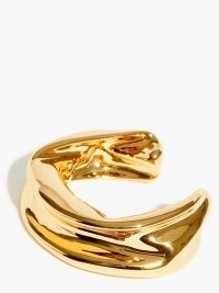 JIL SANDER Melting gold-dipped bracelet ~ sculptural open bracelets ~ contemporary cuffs