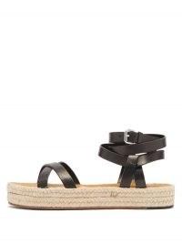 ISABEL MARANT Melyz flatform leather espadrille sandals | strappy ankle wrap flatforms