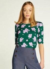 L.K. BENNETT MERLE SWEET WILLIAM PRINT JERSEY TOP / green floral lightweight fabric tops