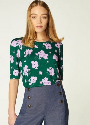 L.K. BENNETT MERLE SWEET WILLIAM PRINT JERSEY TOP / green floral lightweight fabric tops - flipped