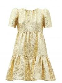 DOLCE & GABBANA Tiered brocade mini dress ~ gold empire waistline dresses ~ luxe Italian clothing