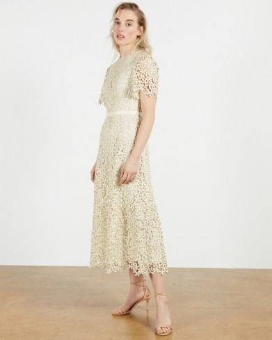 TED BAKER ALDORRA Midi Lace Dress in Natural ~ floral overlay dresses - flipped