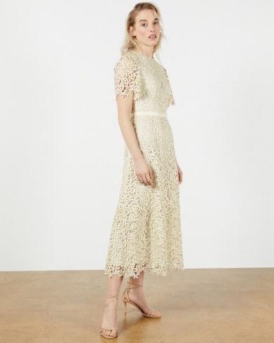 TED BAKER ALDORRA Midi Lace Dress in Natural ~ floral overlay dresses