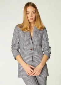 L.K. BENNETT MILLER MONOCHROME GINGHAM JACKET / classic black and white check jackets