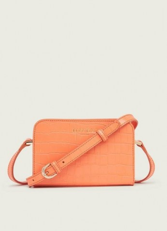 L.K. BENNETT MINI MARIE APRICOT CROC-EFFECT LEATHER CROSSBODY BAG ~ small luxe bags - flipped