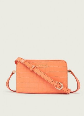 L.K. BENNETT MINI MARIE APRICOT CROC-EFFECT LEATHER CROSSBODY BAG ~ small luxe bags
