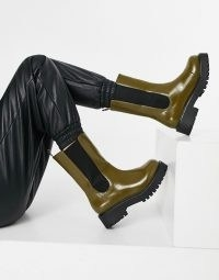 Monki Maddie faux leather chunky sole boot in brown ~ chelsea boots