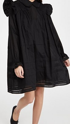 MUNTHE Trancas Dress – black vintage style dresses – ruffle shoulders