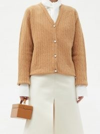 ERDEM Myra crystal-button merino-wool blend cardigan in beige ~ oversized cardigans