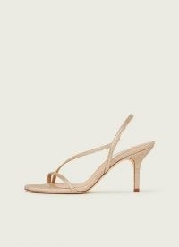L.K. BENNETT NAEVE GOLD GLITTER STRAPPY SANDALS ~ glittering mid-heel party shoes