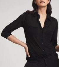 REISS NANCY TWIN POCKET JERSEY SHIRT BLACK / wardrobe essentials