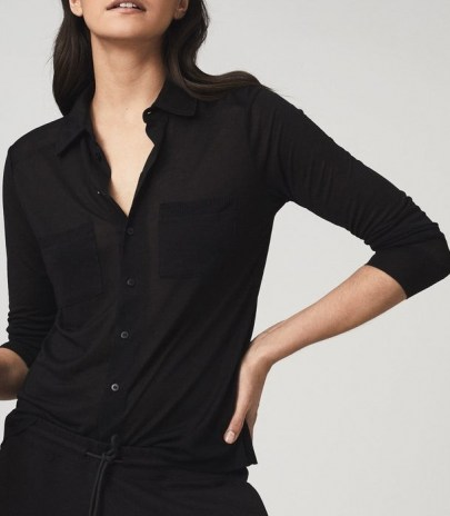 REISS NANCY TWIN POCKET JERSEY SHIRT BLACK / wardrobe essentials - flipped