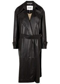 NANUSHKA Amal black faux leather trench coat ~ longline oversized lapel coats