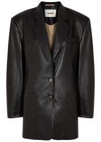 NANUSHKA Evan black faux leather blazer – padded shoulder vegan blazers