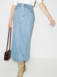 Nanushka Louis flared denim skirt ~ casual light blue skirts
