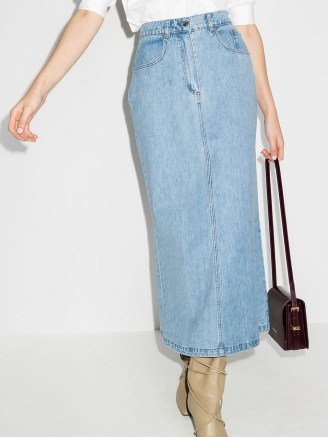 Nanushka Louis flared denim skirt ~ casual light blue skirts - flipped