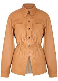 NANUSHKA Thalita brown faux leather shirt – chic tailored shirts
