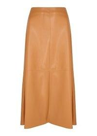 NANUSHKA Zayra brown faux leather midi skirt – soft vegan skirts