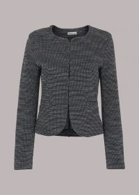 WHISTLES TWEED COLLARLESS JERSEY JACKET Navy/Multi