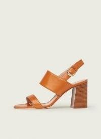 L.K. BENNETT NICOLETTE TAN LEATHER SANDALS ~ light brown chunky heel wide front-strap slingbacks