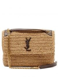 SAINT LAURENT Niki medium YSL-plaque raffia shoulder bag ~ brown leather trim flap bags ~ gold chain handbag