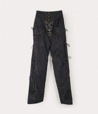 Vivienne Westwood OPTIMUM CHAPS BLACK/NAVY | black silk floral jacquard trousers | shoe string fastened pants | edgy clothing