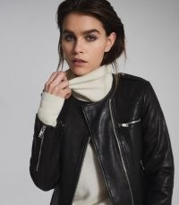 REISS OSSIE LEATHER COLLARLESS BIKER JACKET BLACK ~ modern classics ~ casual luxe jackets