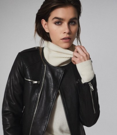 REISS OSSIE LEATHER COLLARLESS BIKER JACKET BLACK ~ modern classics ~ casual luxe jackets - flipped