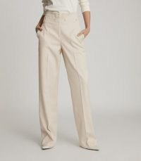 REISS OTIS WIDE LEG TAILORED TROUSERS NEUTRAL ~ casual luxe high waist pants