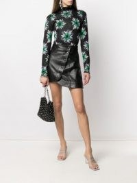 Paco Rabanne floral print glitter top ~ shimmering high neck tops