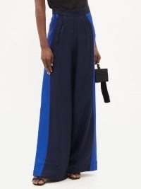 TALLER MARMO Palm Beach blue satin-panel crepe wide-leg trousers / floaty fluid fabric pants