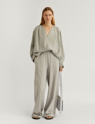JOSEPH Paper Jersey Trousers ~ floaty wide leg pants ~ fluid fabric - flipped