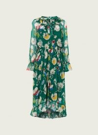 L.K. BENNETT PASCALE GREEN ANEMONE PRINT FRILL COLLAR DRESS / floaty floral dresses / feminine fashion