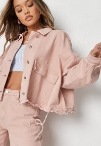 Missguided peach co ord drop shoulder oversized denim shirt   featuring drop shoulders, two large front flap pockets and a drawstring tie at the hem