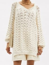 SIMONE ROCHA Pearl-embellished organic-cotton lace sweater – luxe cream sweaters – feminine knitwear