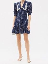 ALESSANDRA RICH Peter Pan-collar polka-dot silk dress – navy vintage style dresses – oversized collars