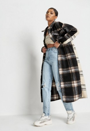 MISSGUIDED petite black brushed check splice longline shacket – long checked shackets - flipped