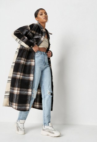 MISSGUIDED petite black brushed check splice longline shacket – long checked shackets