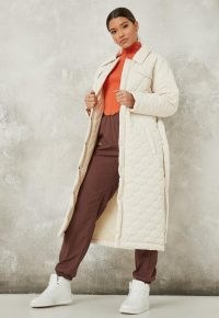 Missguided petite cream quilted belted trench coat | luxe style tie waist coats